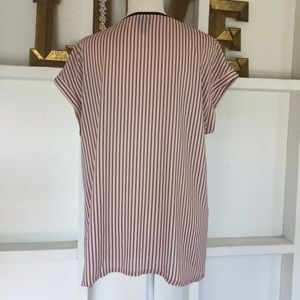 Worthington Tops - Soft Flowing Blush Pink With Black Stripe Top